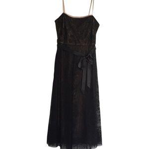 BCBG Embroidered Tulle Black Cocktail Dress
